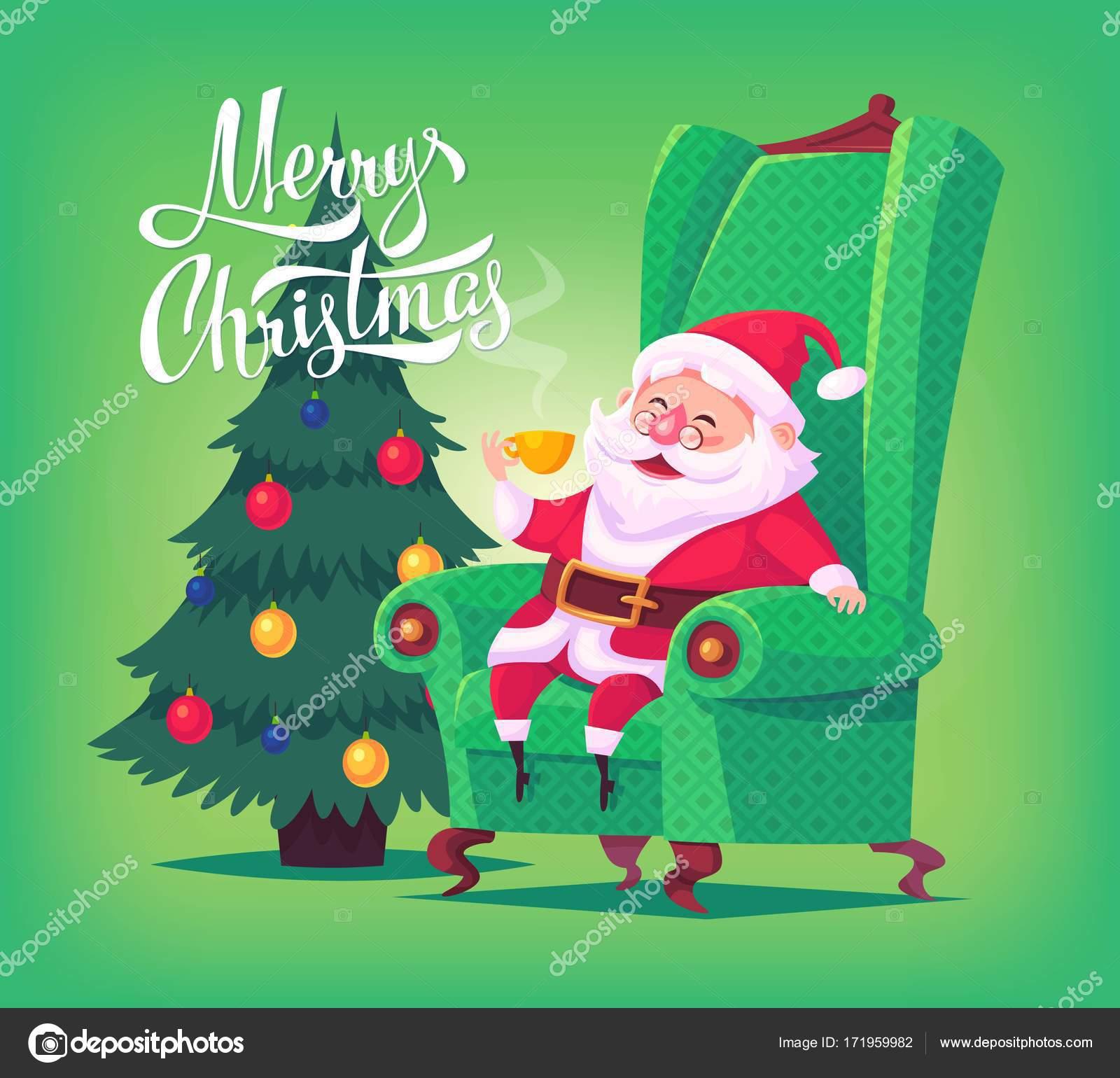 Dessin Animé Mignon Père Noël Assis Sur Chaise Boire Du Thé