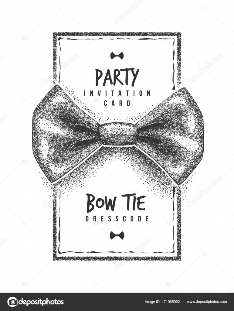 Bow tie party invitation card of dress code message Stippling effect ...
