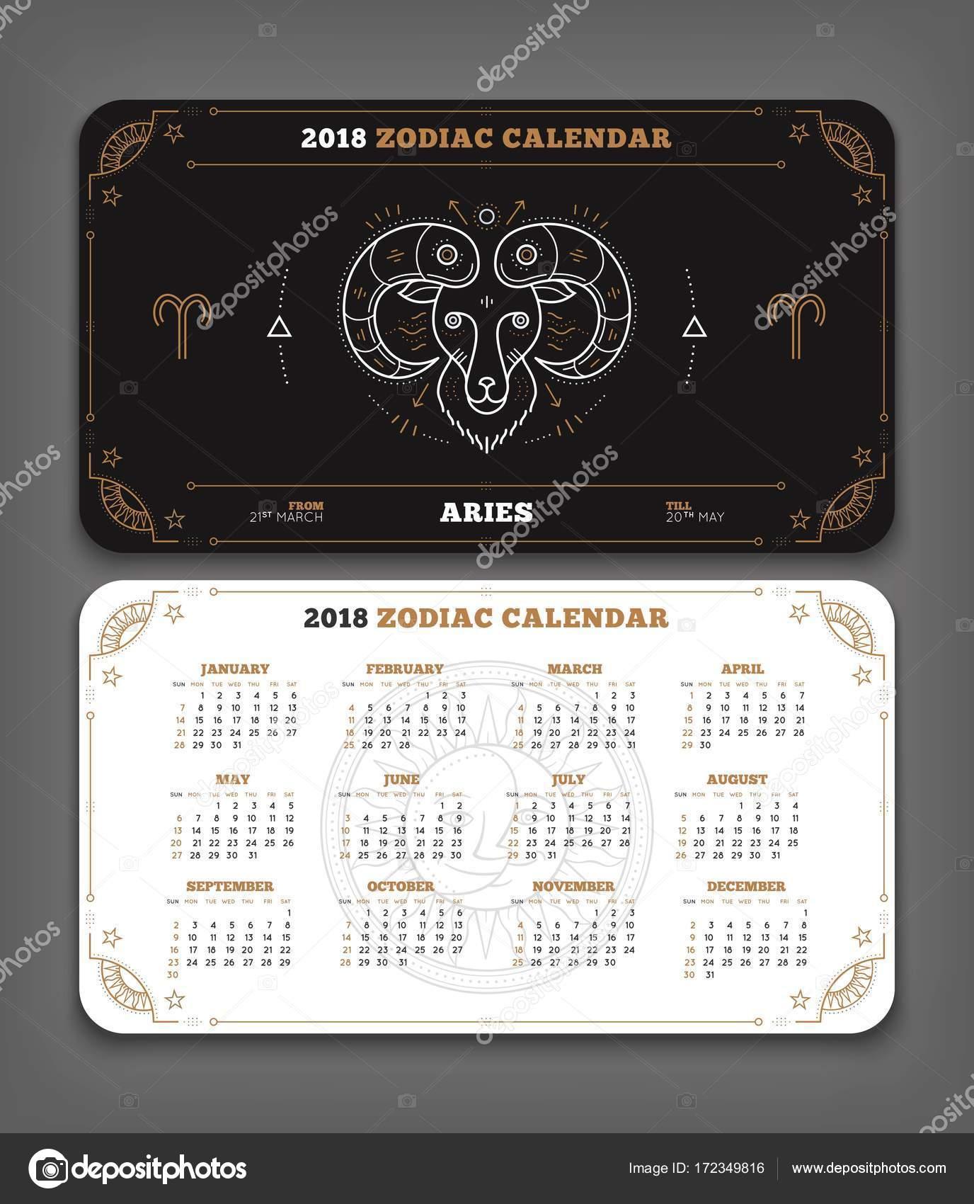 Aries 2018 year zodiac calendar pocket size horizontal