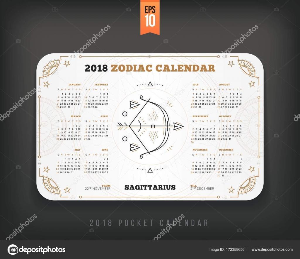 Calendario Zodiacale.Sagittario 2018 Anno Zodiacale Calendario Pocket Dimensioni