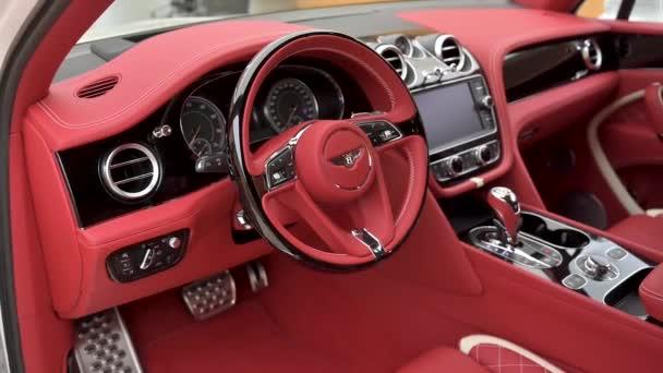 Crewe, UK - January, 2020- Bentley Bentayga Speed steering wheel view at dealer showroom
