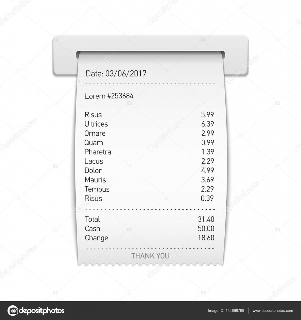 Sales Printed Receipt, Sales Slip, Shopping Paper Bill Vector I U2014 Stock  Vector  Cash Sales Slip