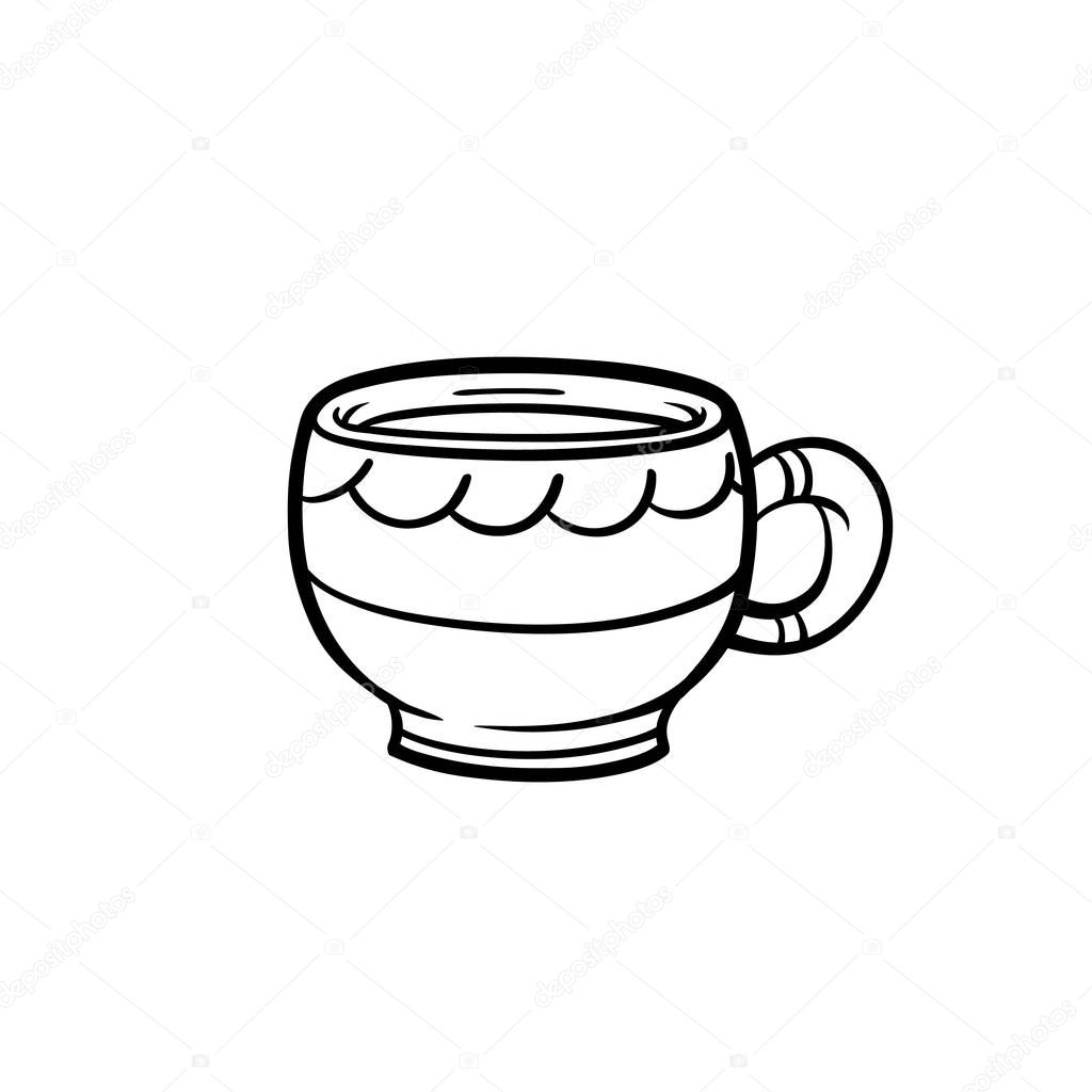 Hand Drawn Vector Stock Illustration Cup Of Tea On White Isolated Cute Mug Doodle Illustration Cozy Mood Cup Vector Element Premium Vector In Adobe Illustrator Ai Ai Format Encapsulated