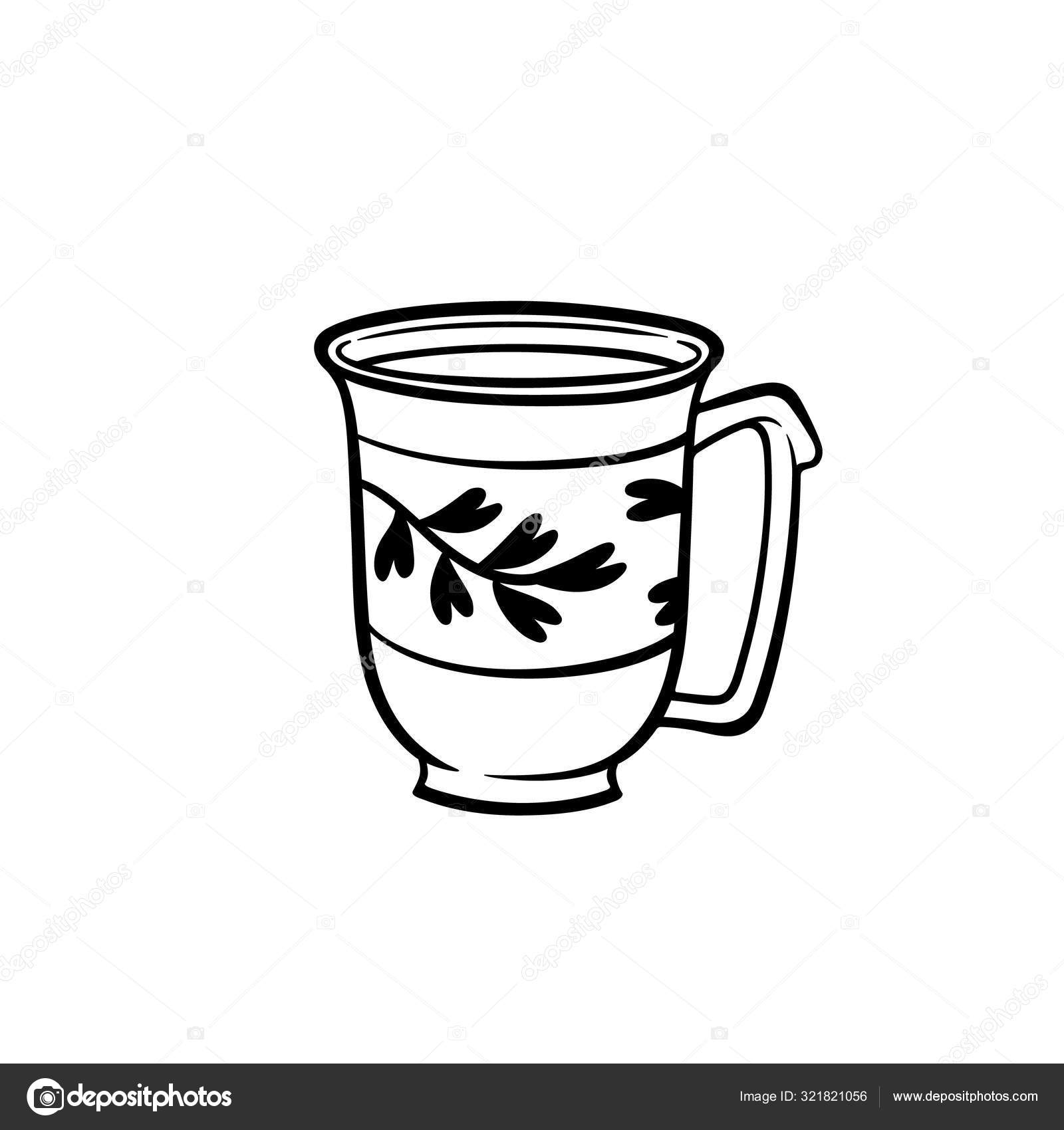 Cute Doodle Mug Branch Vector Stock Illustration Ceramic Mug Stock Stock Vector C Tomapoma 321821056