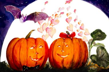 A cartoon fairy-tale picture of Halloween - pumpkins lovers