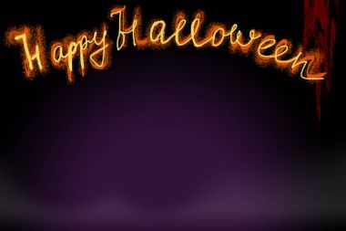 The inscription is a greeting with Halloween, yellow-orange, resembling a fire on a dark violet background with a black one. Red flow, simulating blood. Procurement for text and greeting cards, a screensaver for the Internet and a background for webs