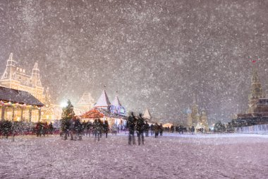Moscow, Snow, Russia, Historical Museum, Ice-skating rink and St. Basil's Cathedral. Christmas fairy tale, Christmas.
