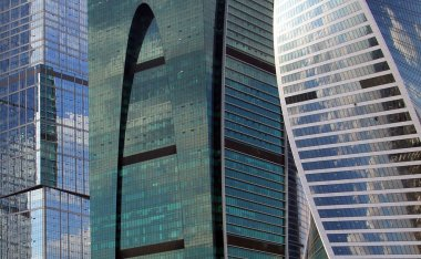 Modern glass buildings background