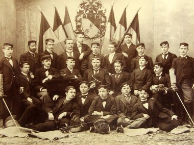 RIGA, LATVIA - CIRCA 1907: Graduates of the Riga Polytechnical Institute, the oldest technical university in the Baltics established on October 14, 1862 (in 1990, it was renamed to Riga Technical University)