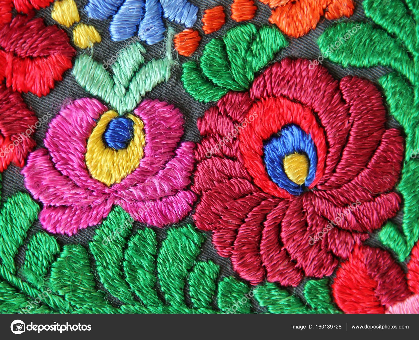 Patron Para Bordar A Mano Flores Multicolor Foto De Stock
