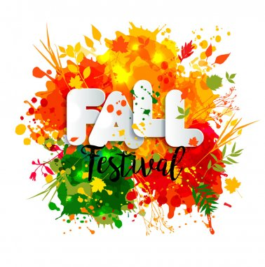 Text fall festival in paper style