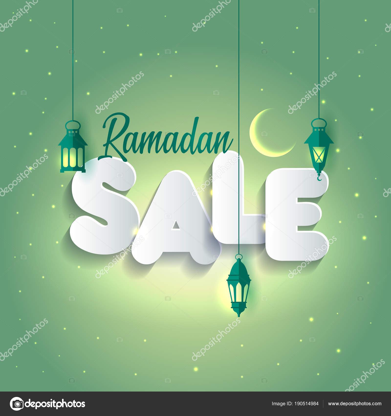 Vector Illustration Ramadan Sale Banner Discount Label Sale
