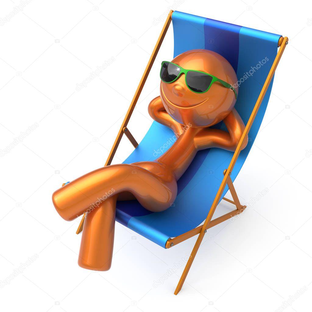 Strand ligstoel zomer vakantie man smiley rust buiten for Ligstoel buiten