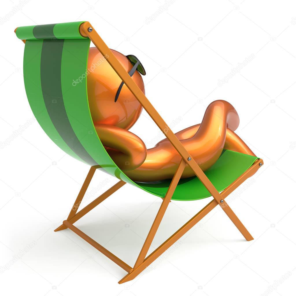 homme lunette de chaise longue de plage souriant caract re. Black Bedroom Furniture Sets. Home Design Ideas
