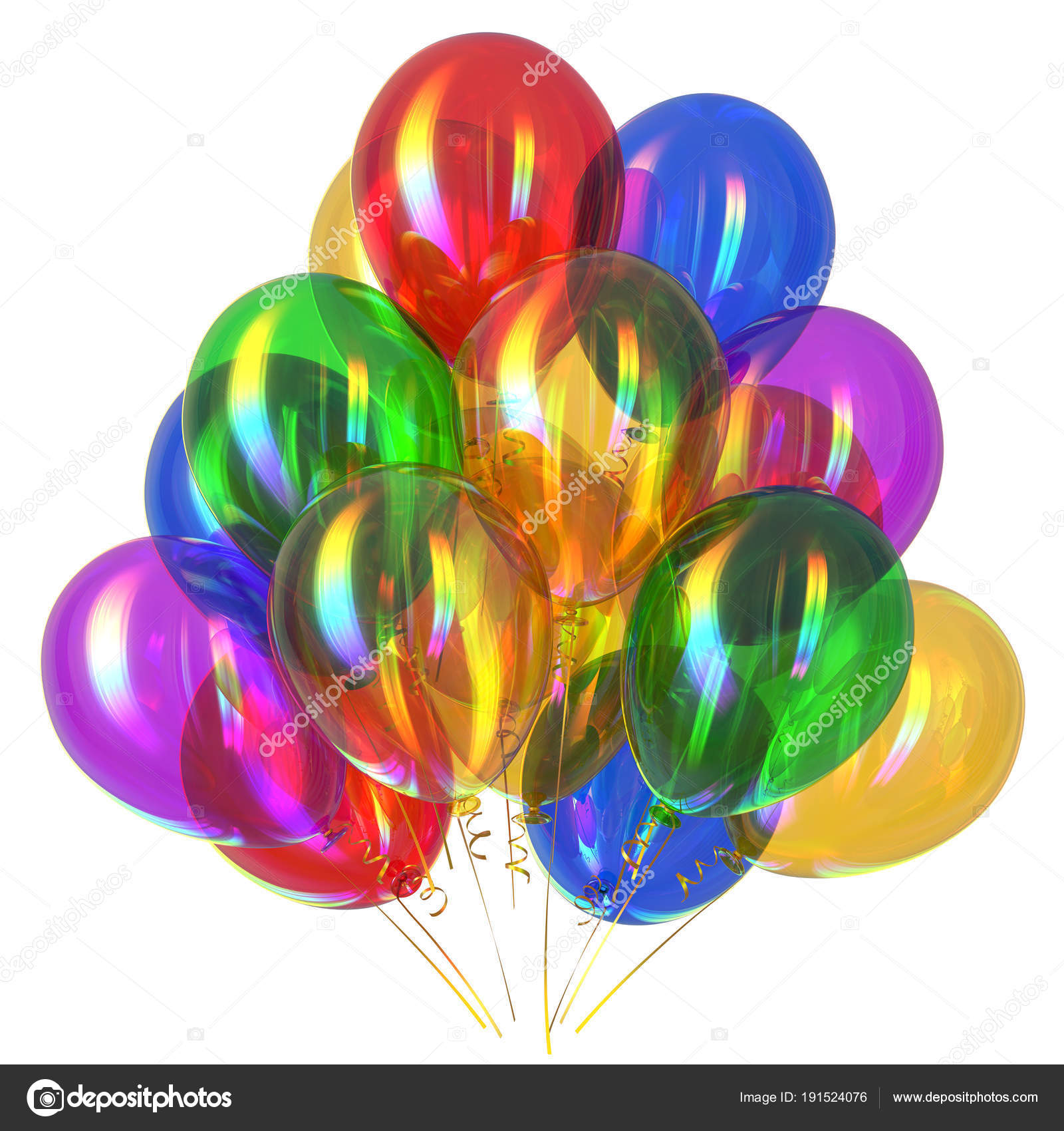 Happy birthday balloons party decoration multicolored glossy — Stock