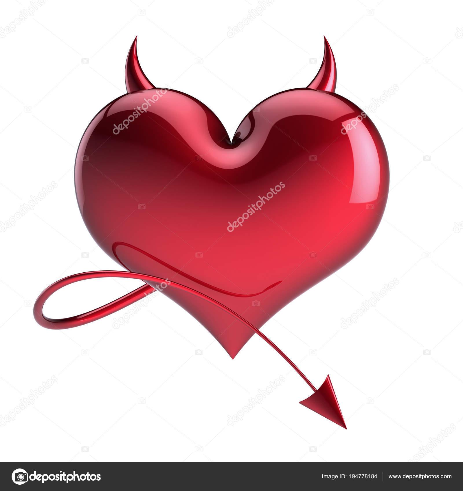 concetto di amante, rosso con corna affilate e coda. Elemento di  disegno divertente cartolina d\u0027auguri di San Valentino. illustrazione 3D