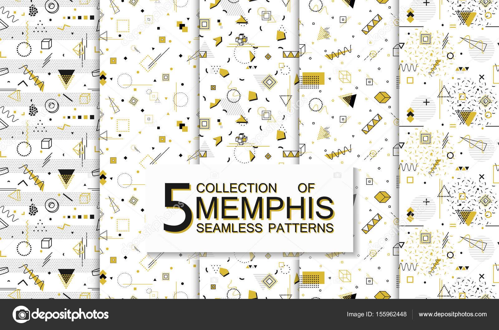 Colección de patrones de memphis sin costuras con formas geométricas ...