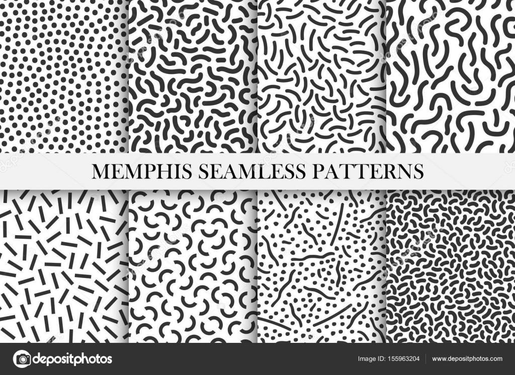 Colección de patrones de memphis retro - moda muestras transparentes ...