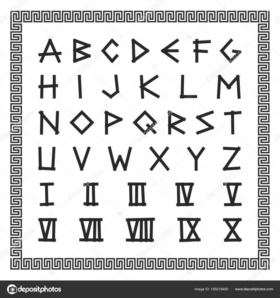 Grecki Czcionki Wektor Alfabetu Angielskiego Starożytne
