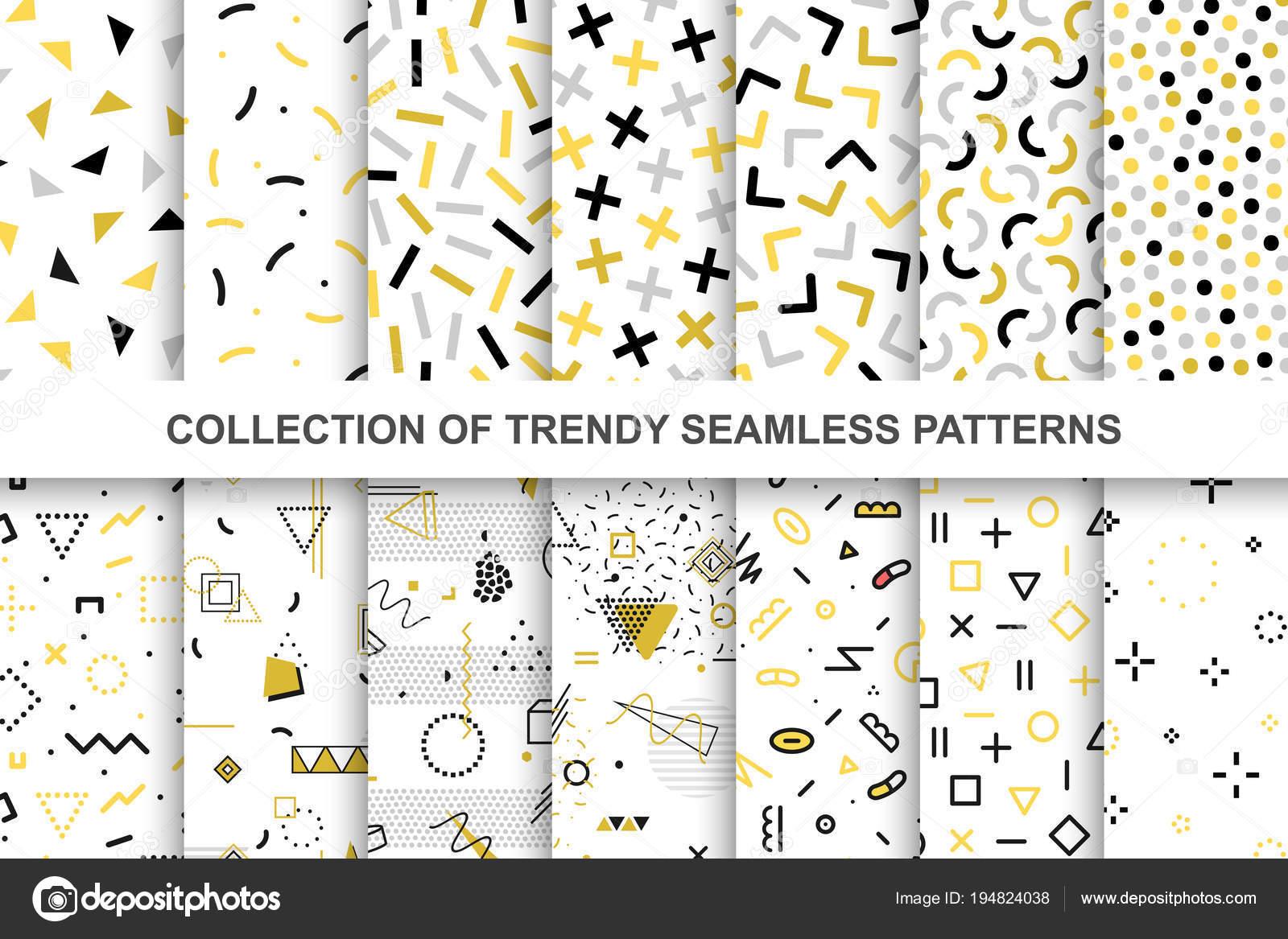 Colección de patrones de muestras memphis - diseño sin costuras ...