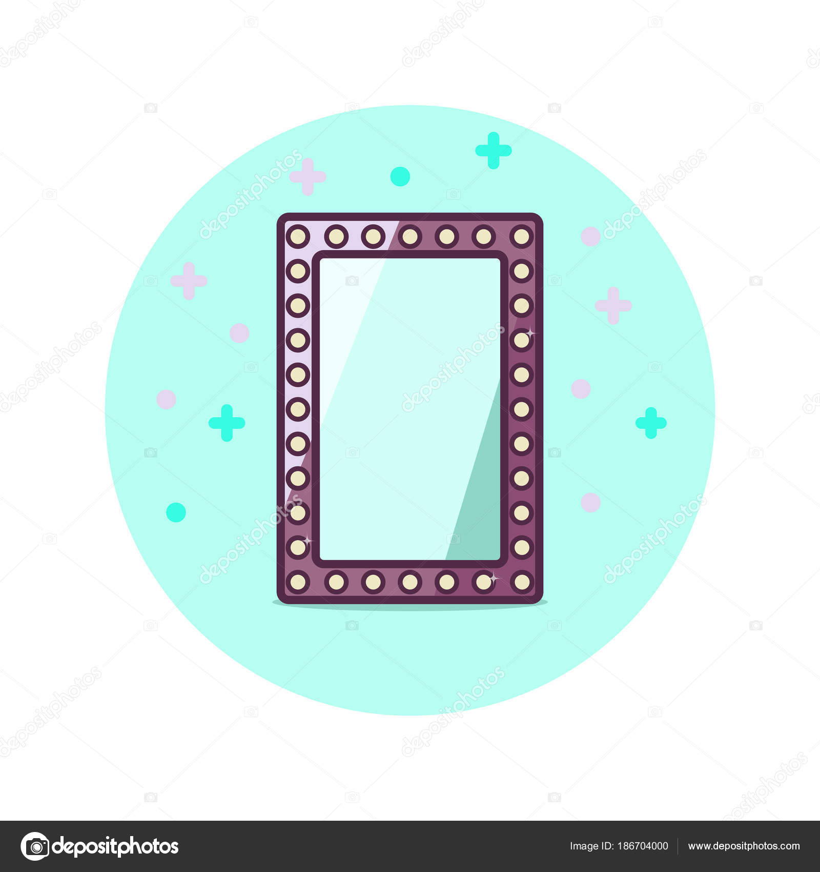 Vintage Standing Mirror Label Isolated Blue Circle Background Design Template Stock Vector