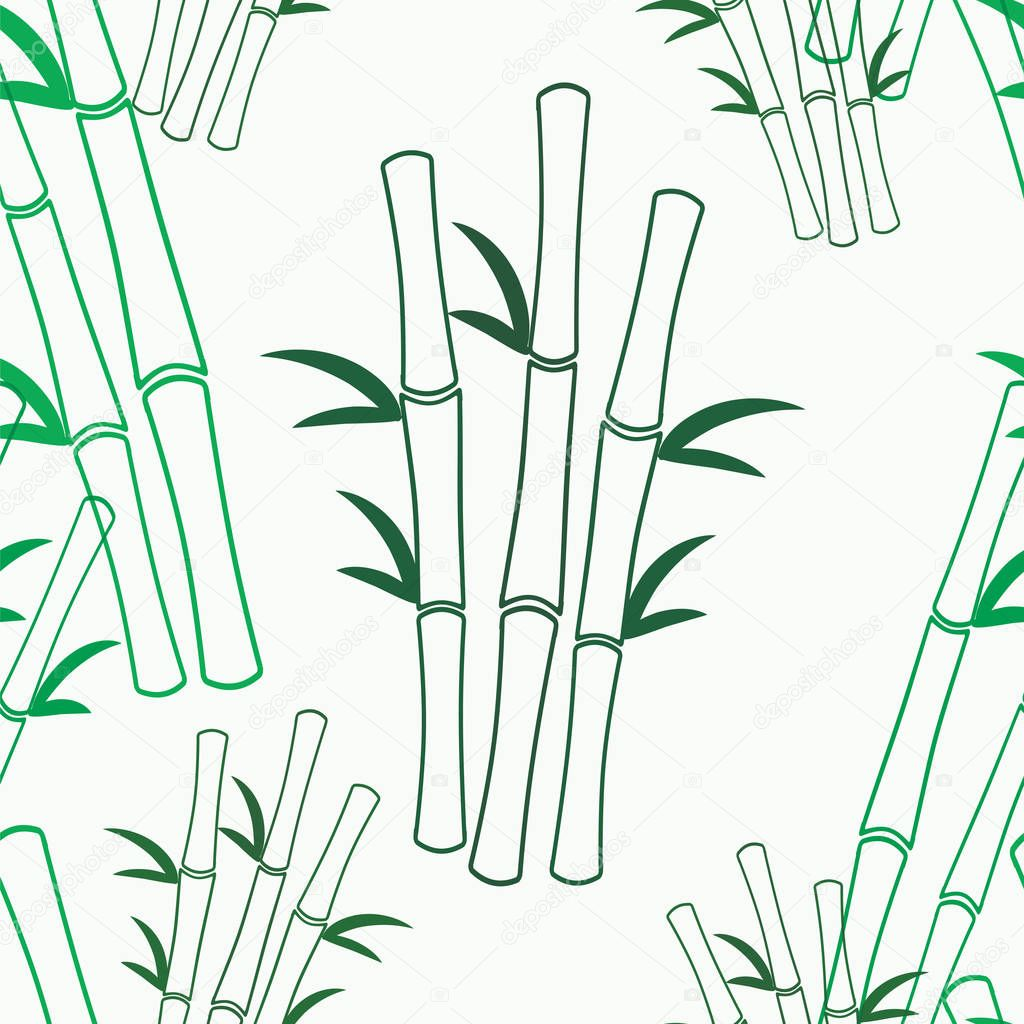 Vector seamless texture with green bamboo