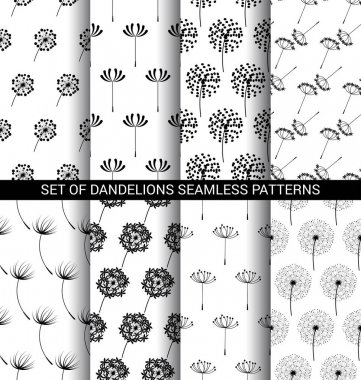 Set of Dandelions seamless patterns
