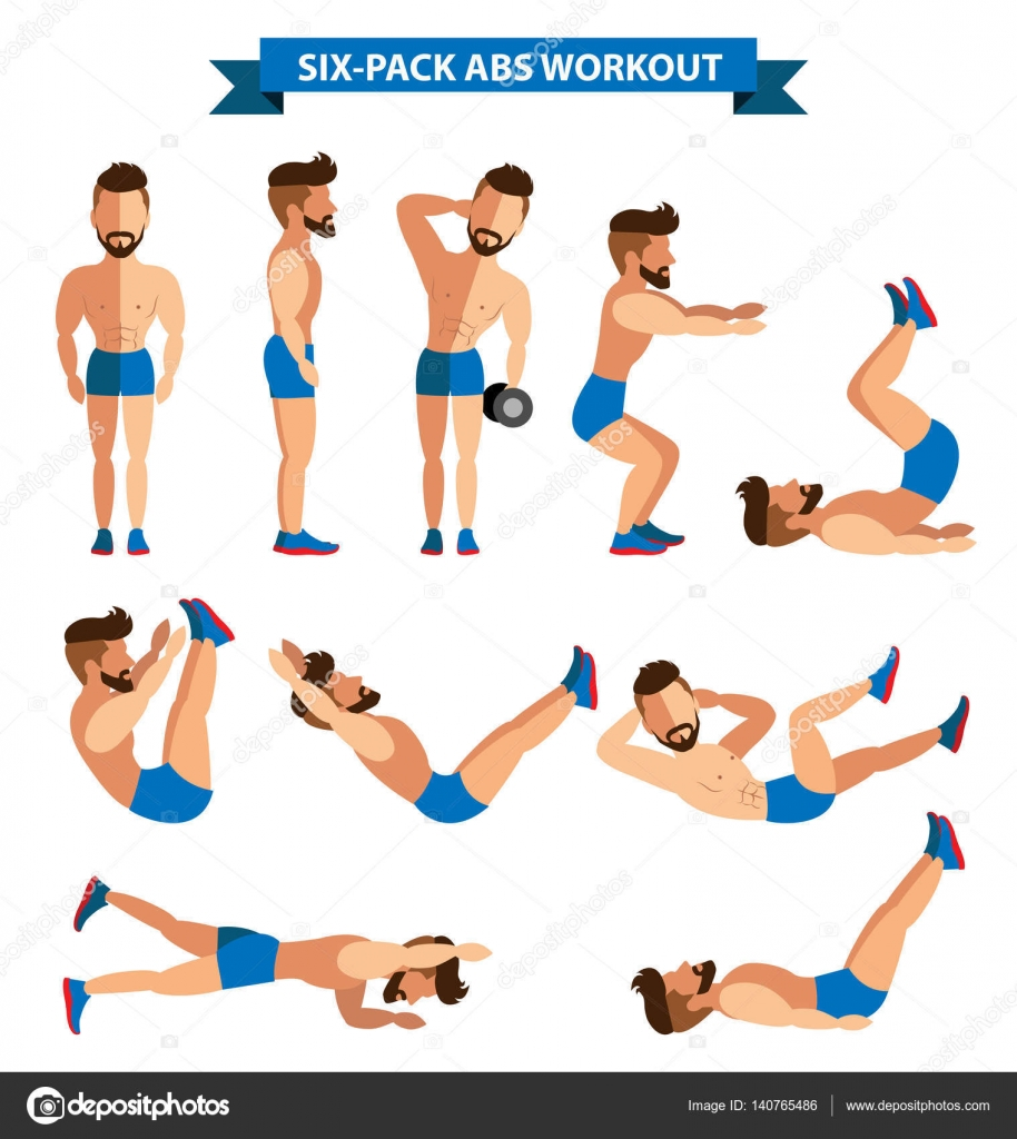 Six Pack Abs Workout For Men Exercise At Home Vector By Rattikankeawpun