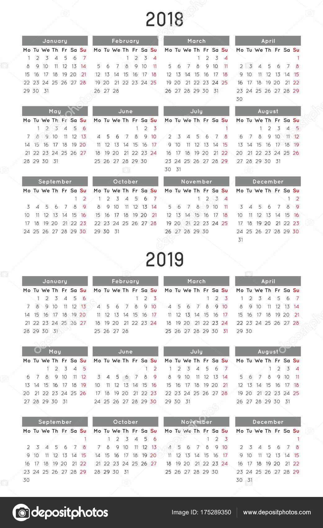 Kalendervorlage 2018 und 2019 — Stockvektor © RChvision #175289350