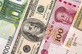 Fotografia dollari, euro e yuan closeup