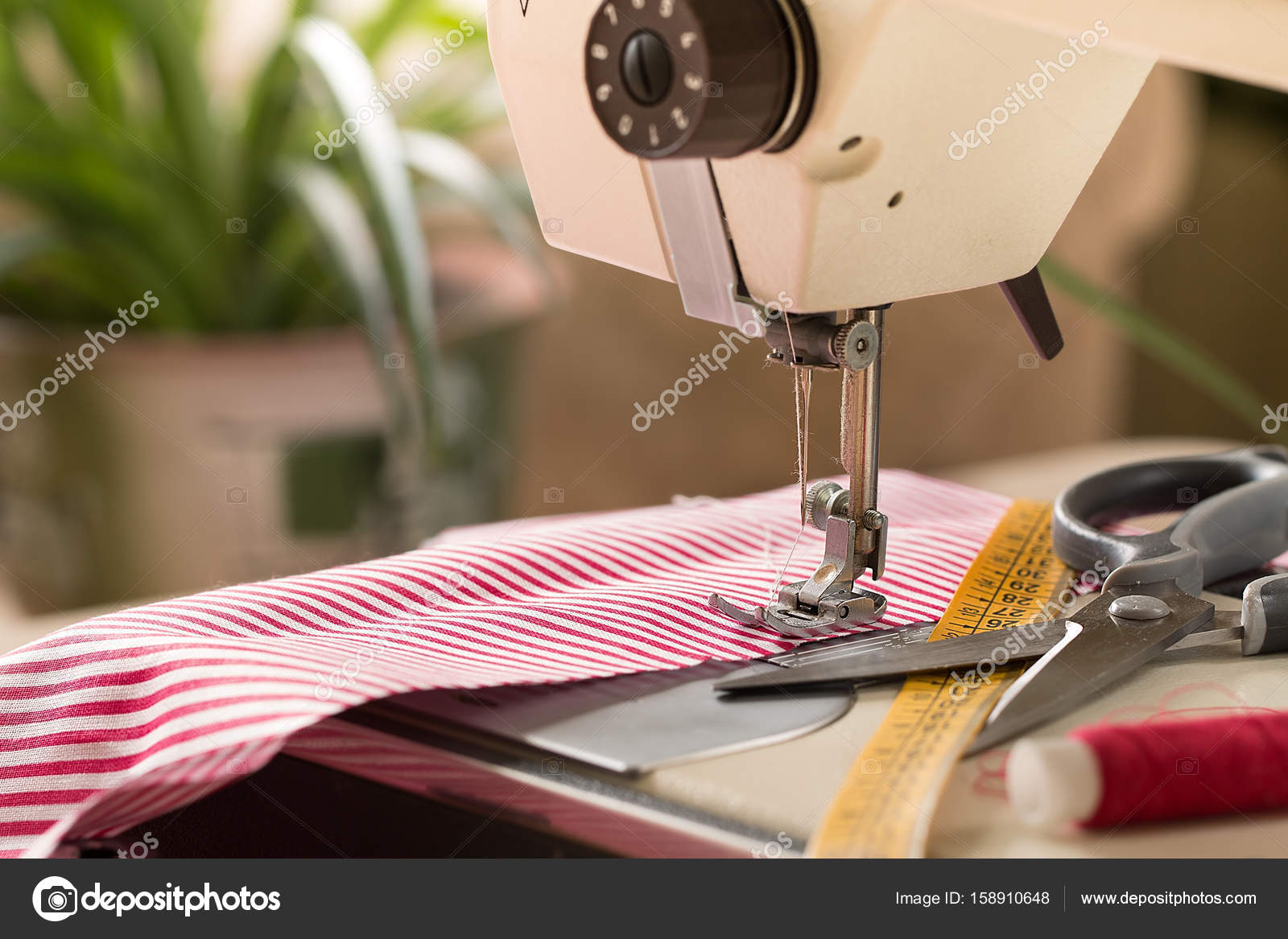 sewing machine hobby sewing fabric as a small business concept