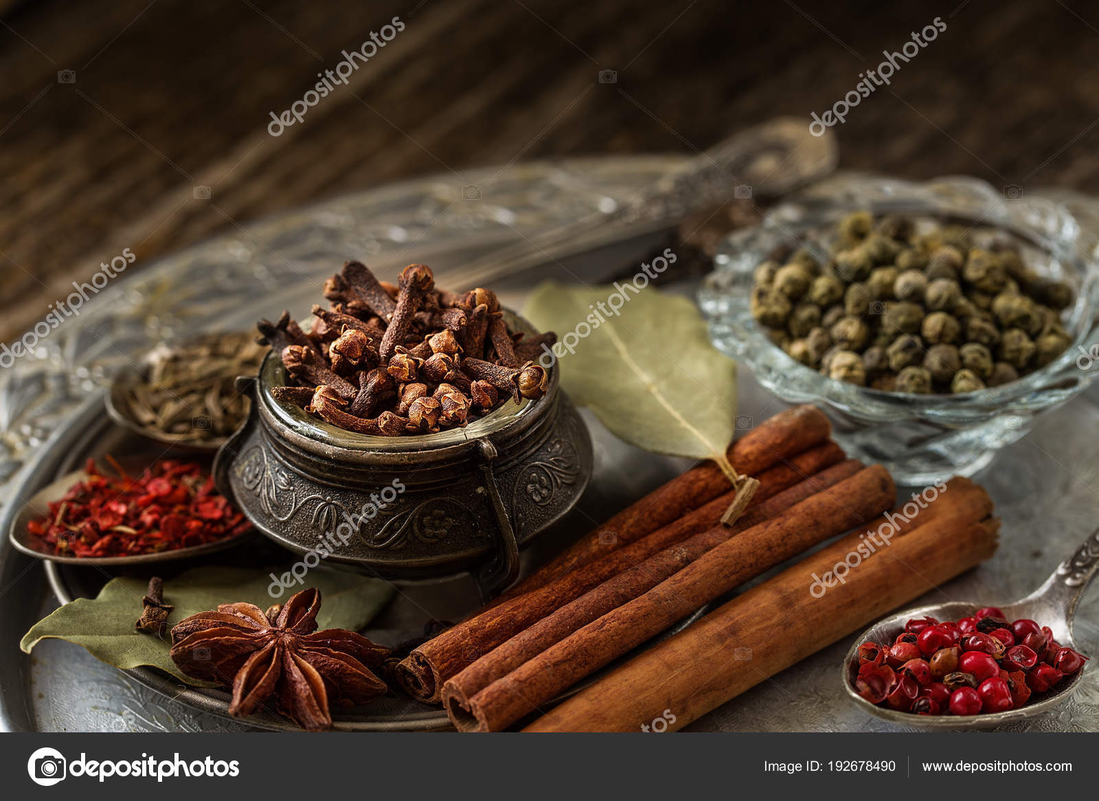 Still Life Composition With Different Types Of Spices