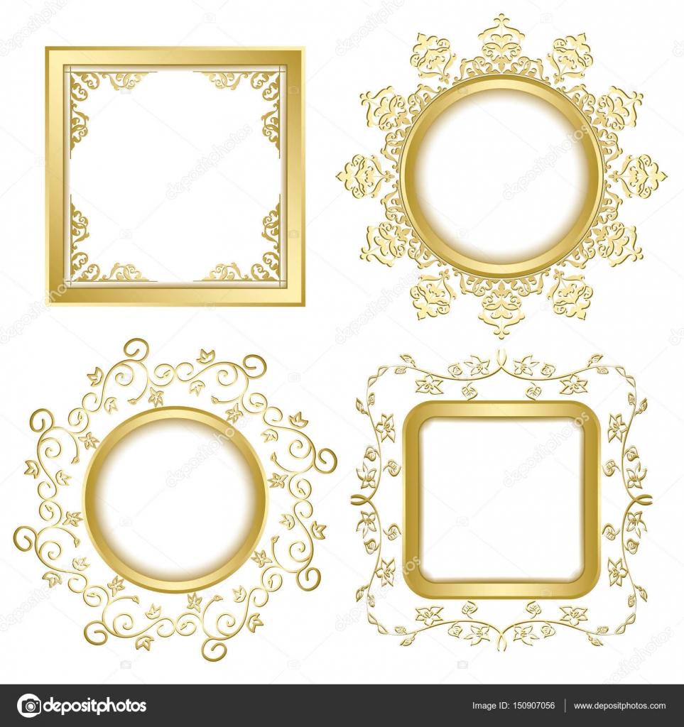helles gold Vintage Vektor Rahmen mit transparenten Schatten ...