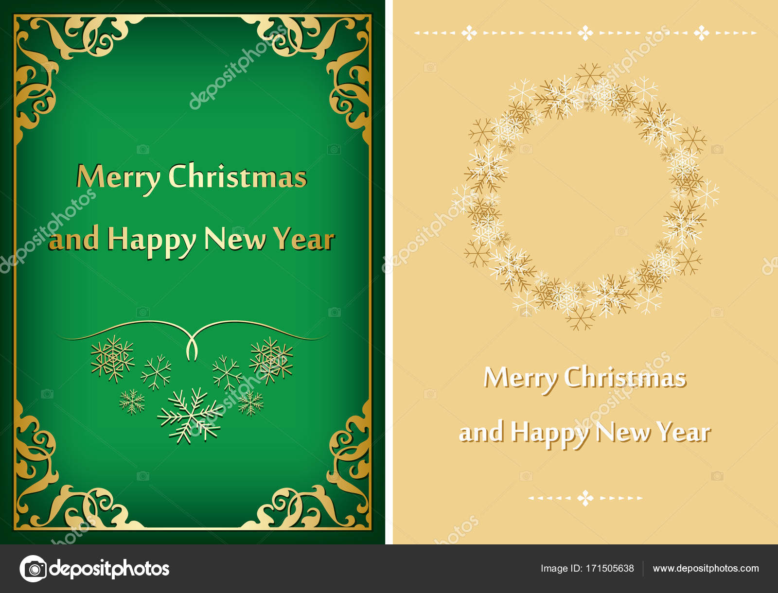 green and beige greeting cards for christmas - vector postcards ...