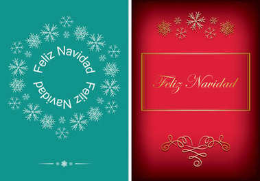 green and red greeting postcards for christmas - vector backgrounds