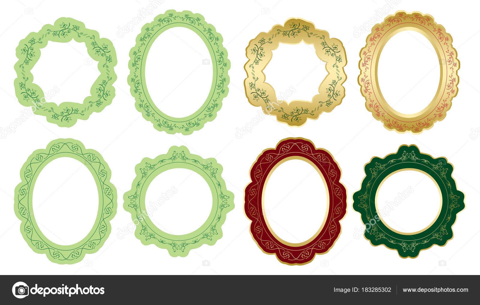 ornamento floral en decorativos Marcos ovalados y redondos - vector ...