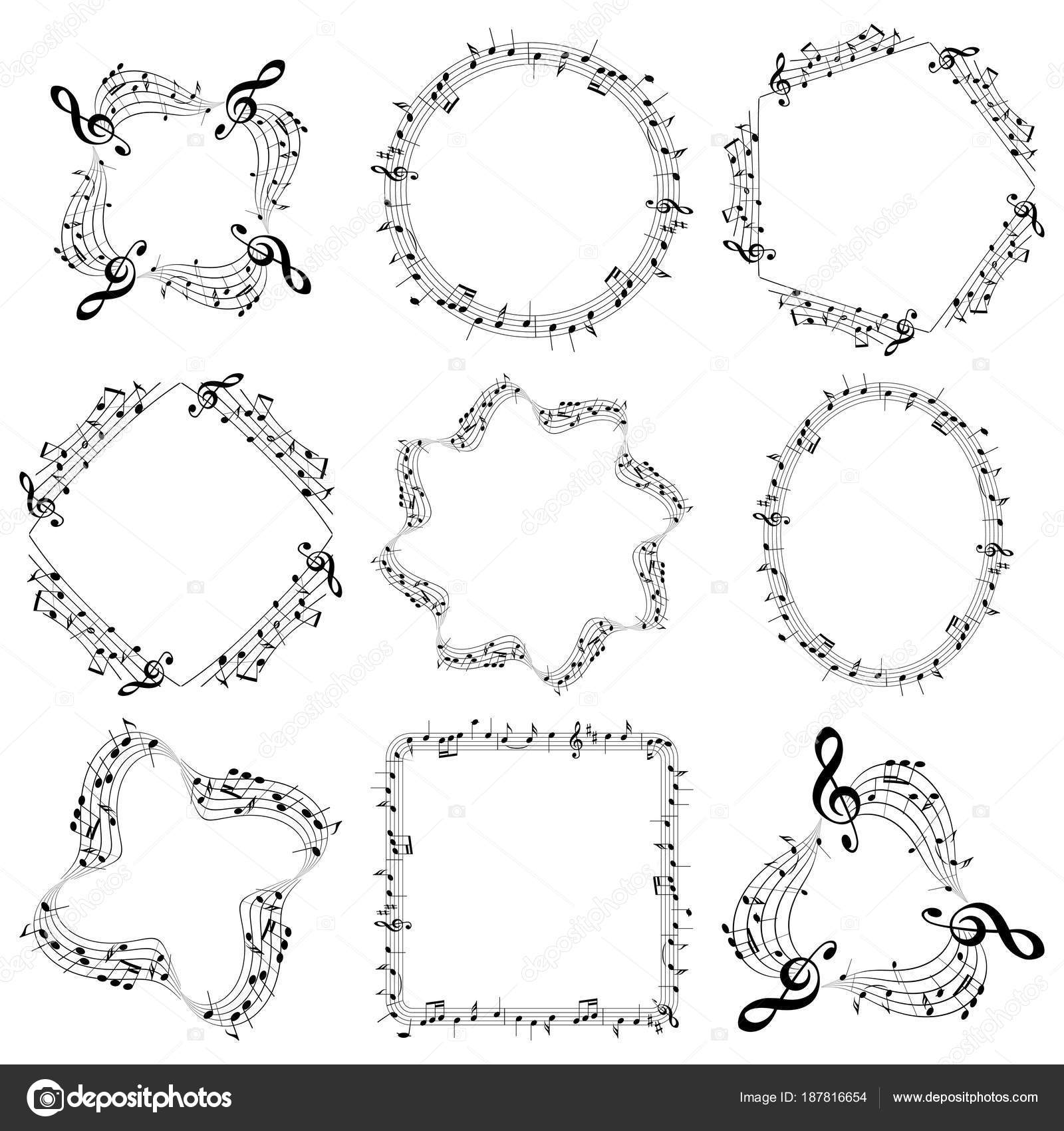 vector decorative music frames with notes - oval square round ...