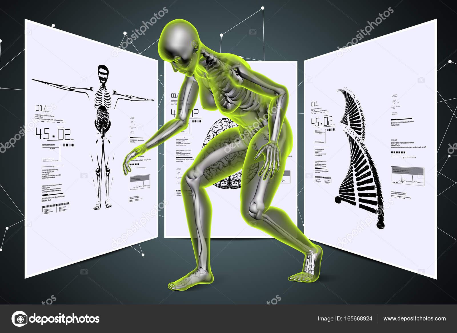 Skelton mit Dna und Körperteilen — Stockfoto © cuteimage1 #165668924