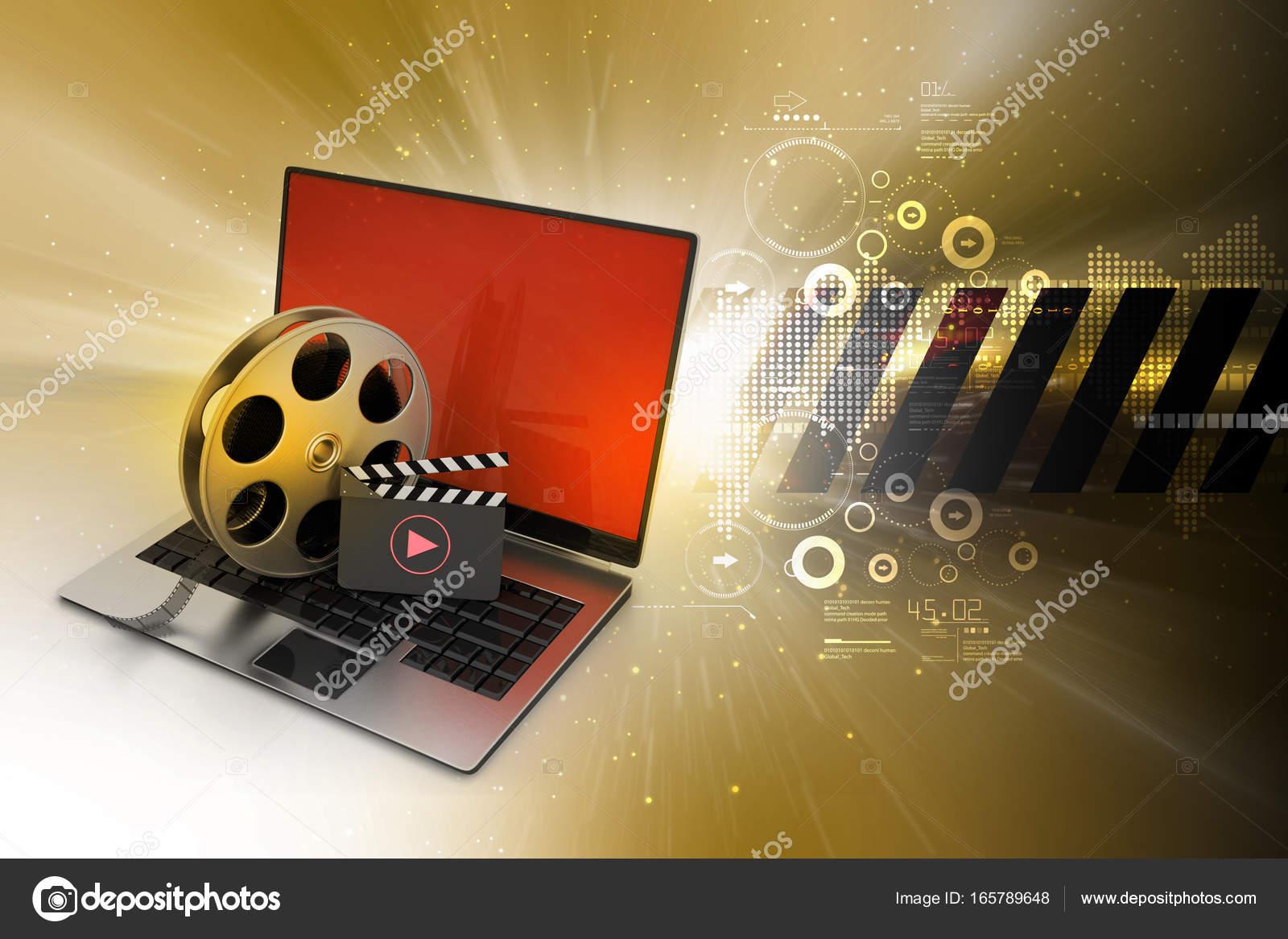 3d Darstellung Der Laptop Mit Haspel Rad Und Donnerschlag An Bord In
