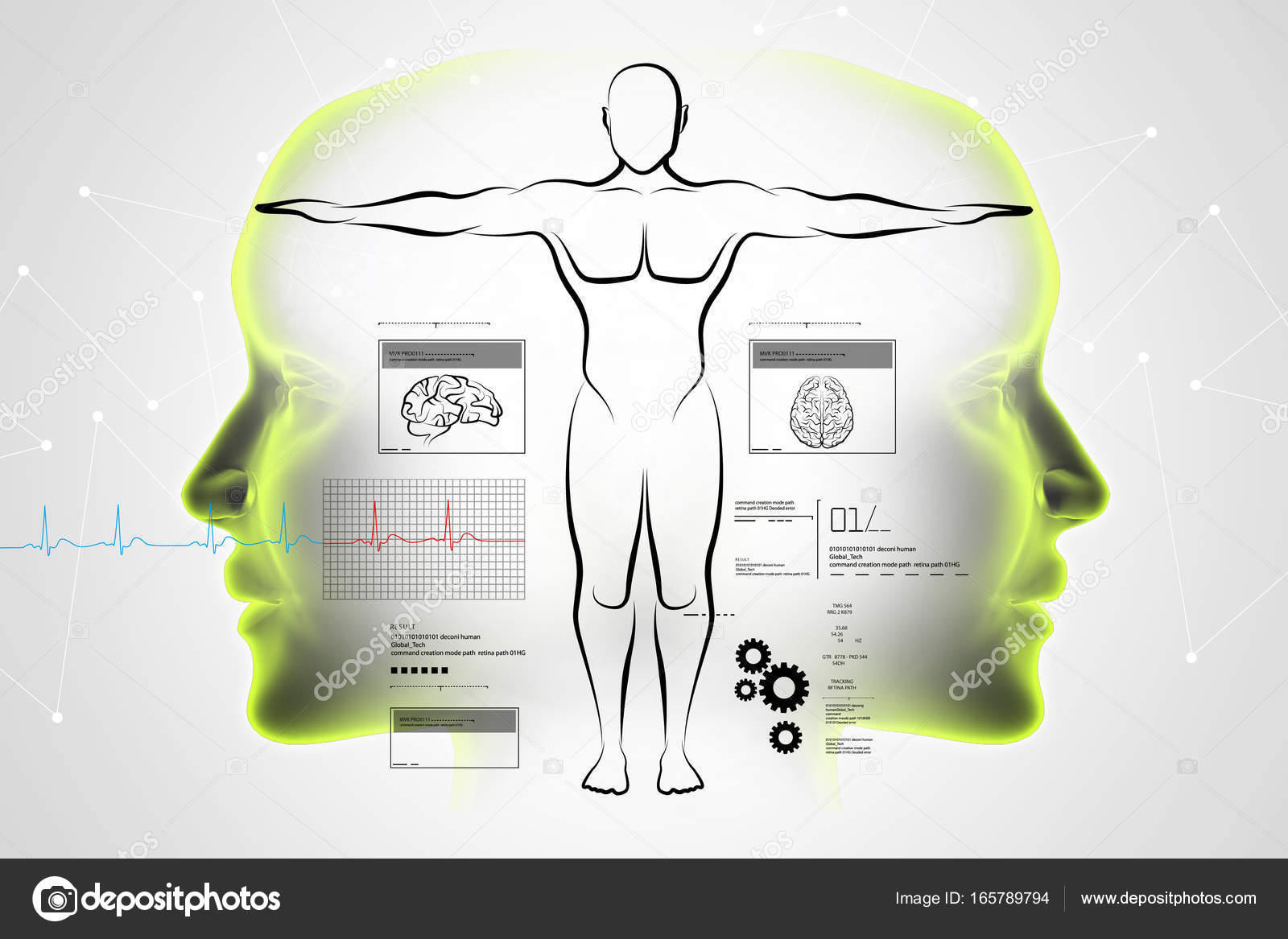 digitale Illustration der Skizze des menschlichen Körpers ...