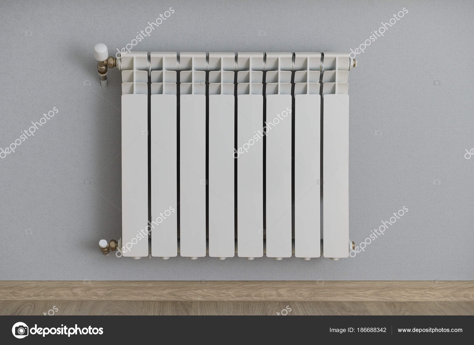radiateur blanc sur le mur avec papier peint gris-bleu ...