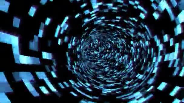 Fliegen im digitalen Tunnel im Cyberspace verschlüsselte Netzwerkinformationen - 4k nahtlose Schleifenbewegung Hintergrundanimation