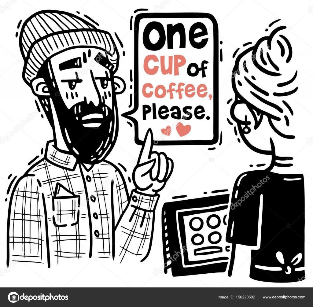 Cómic hipster barba pide una taza de café en el contador de ...