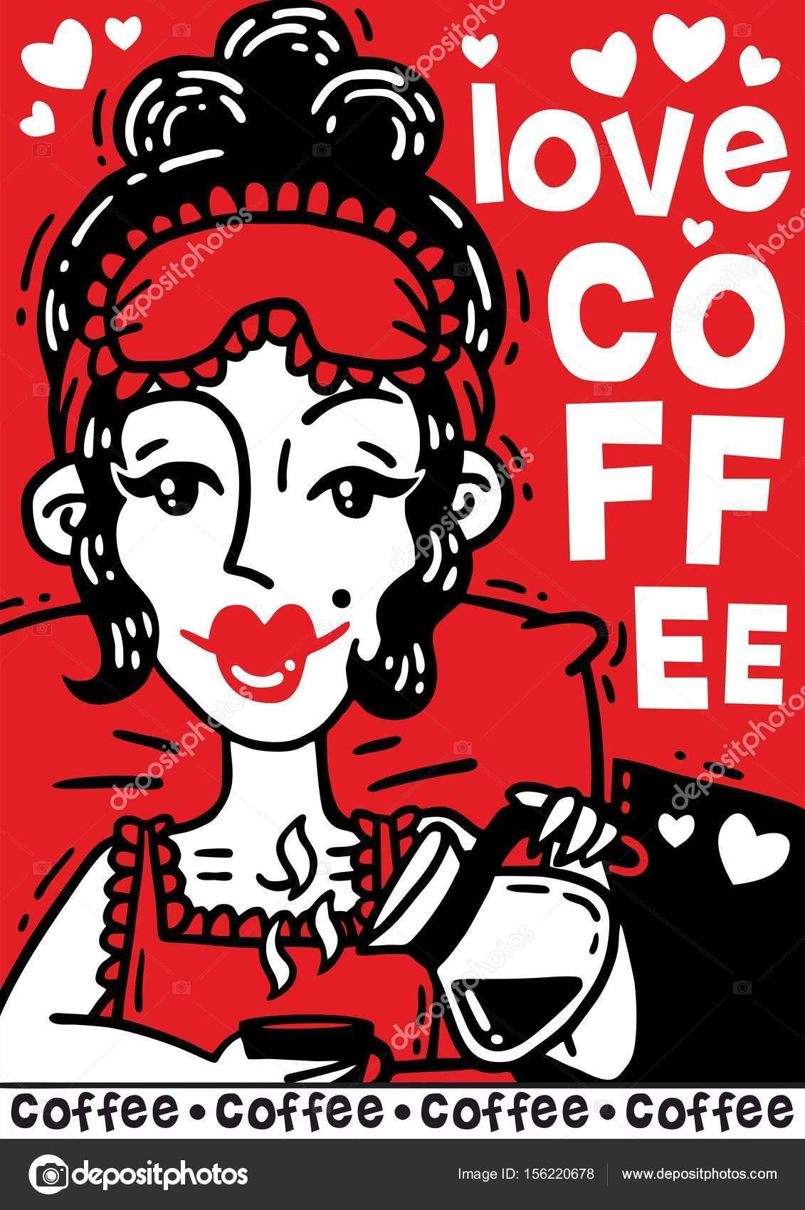 Comic Poster Schone Frau Trinkt Ihren Kaffee Am Morgen Im Bett