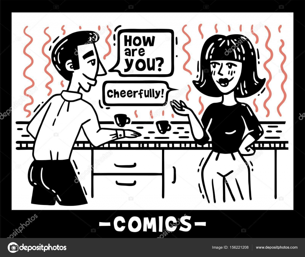 Mann Und Frau In Der Kuche Fur Kaffee Comics Im Chat Stockvektor