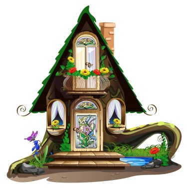 Fairytale wooden house with stained glass windows
