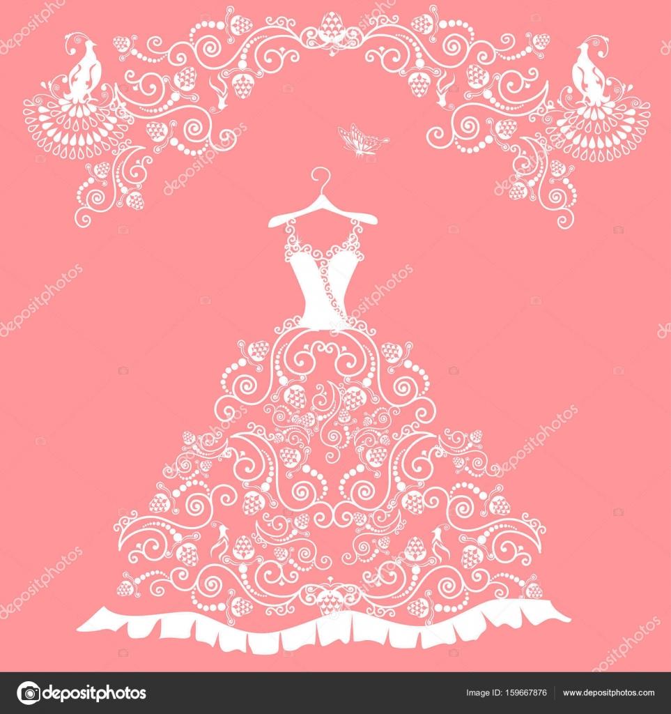 vestido de novia de encaje — Archivo Imágenes Vectoriales ...