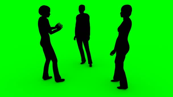 4k silhouettes of women speaking on a green background