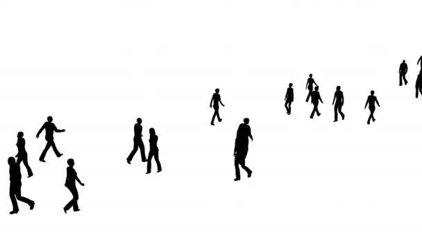 4k Silhouette Menschenmenge bewegt sich, Seitenansicht