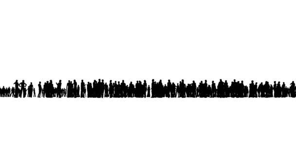 4k állni a tömegben az emberek, mind a sziluett, egy fehér háttér